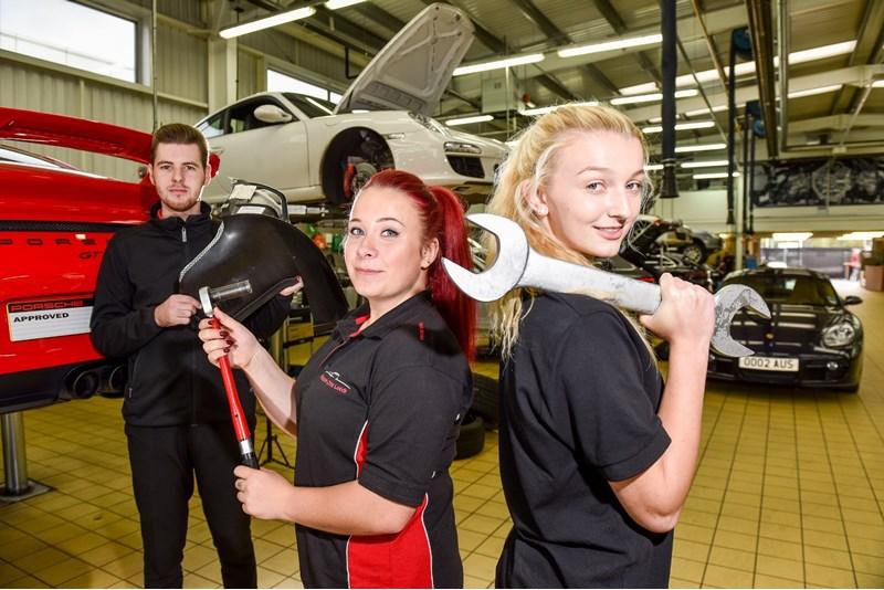 Three JCT600 apprentices at Porsche Centre Leeds