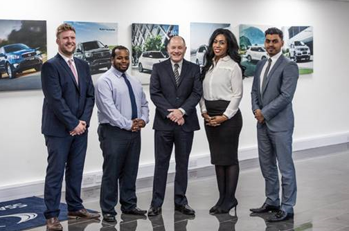 Paul Williams (centre), SsangYong Motor UK chief executive, are the four new SsangYong customer champions - left to right, David Payne, Dayrl Small, Natalie Leslie and Mani Sanghera