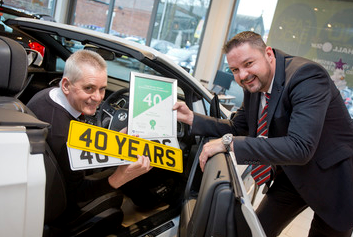 Kenny Cryans and William Gladwin, general manager at Bristol Street Motors Chesterfield Vauxhall