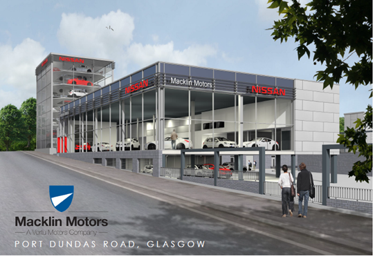 Artist's impression of Macklin Motors' new Glasgow Nissan site