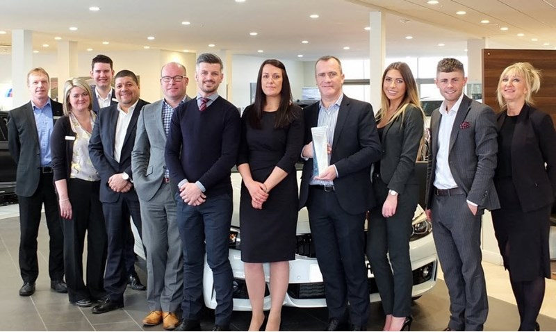 Bowker BMW sales team in Preston celebrates BMW sales retailer of the year 2017 title