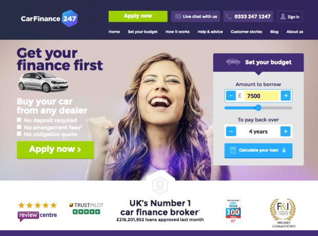 CarFinance 247 homepage