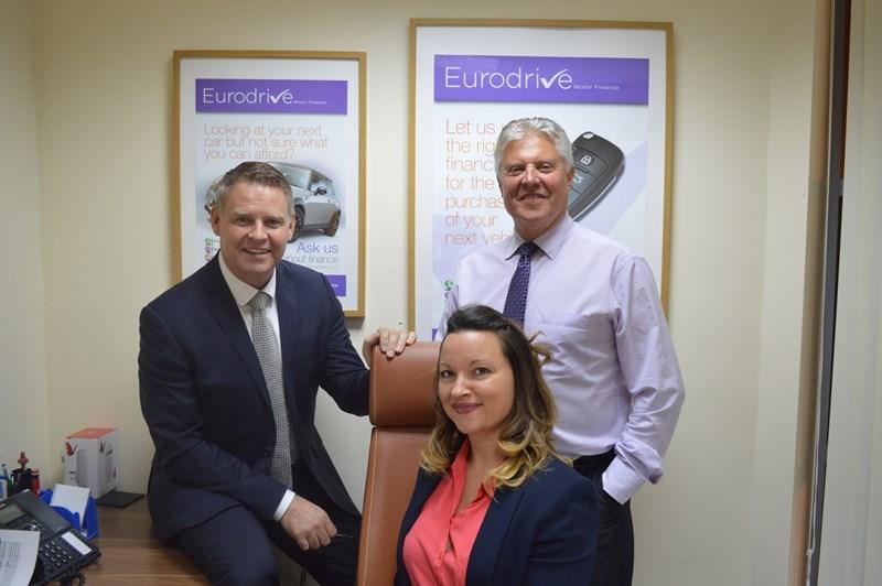 Eurodrive directors: Stephen Dixon, MD (left), Derek Goodsir, CFO (right) and Kirstie Tyson, director.