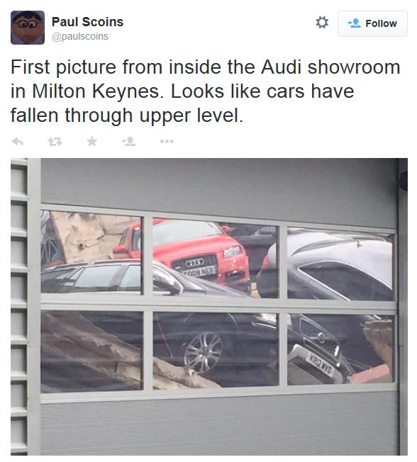 Roof collapse at Jardine Milton Keynes Audi June 2015
