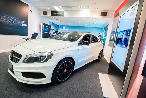 mercedes benz retail dealers open pop up store in manchester 39 s trafford centre car dealer news. Black Bedroom Furniture Sets. Home Design Ideas