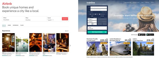 Airbnb and the Trainline website