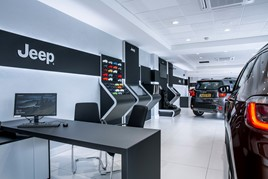 Real demonstrator cars sit alongside VR at Glyn Hopkin's new flagship FCA Group store in Romford
