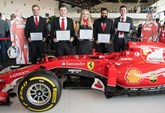 Ferrari's latest batch of apprentice graduates celebrate their success at Silverstone