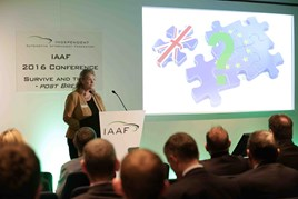 IAAF chief executive Wendy Williamson addresses the federation's recent annual conference