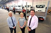 Bodyshop manager Tony Hallimond (right) pictured with Craig Brown, commercial vehicle coachworks manager and Melanie Raine, administrator at Nesmo Truck Bodies