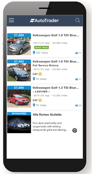 Auto Trader mobile website