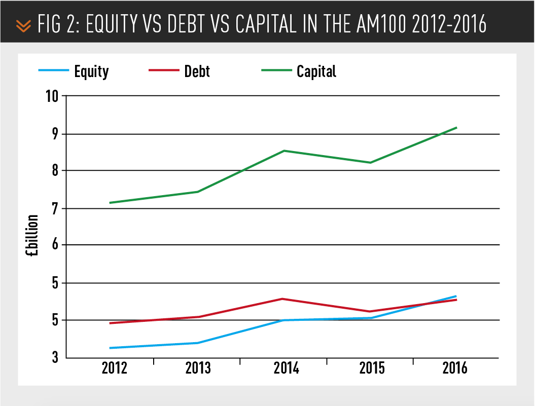 Equity vs debt vs capital in the Am100 2012-2016