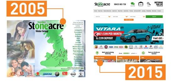 Stoneacre website comparison 2005-2015