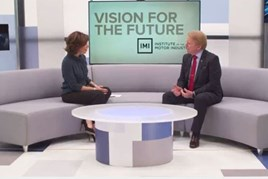 On the sofa: ITN's Natasha Kaplinsky and IMI chief executive Steve Nash in 'Vision for the Future'
