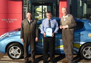 Andrew Donaldson and Greg Defesche, gain electric vehicle technician level one certificates at Alex F Noble & Son