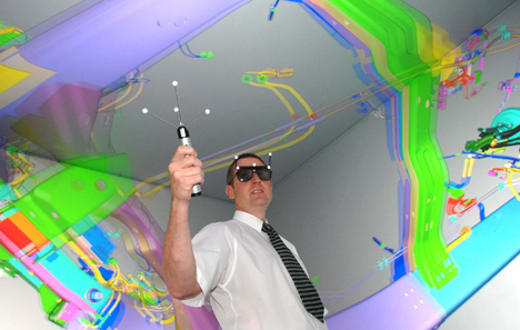 In the virtual reality centre, Brian Waterfield, JLR principal engineer and virtual reality centre manager