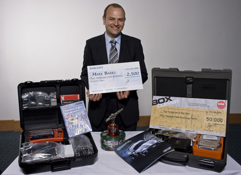 Mark Banks with his Top Technician 2008 prizes