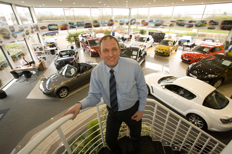 Rickey Reid in the refurbished Mazda showroom