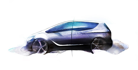 A sketch of the new Vauxhall Meriva under wraps