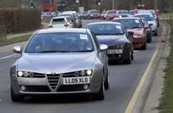 Alfa Romeo convoy at Allams Alfa Romeo in Epsom, Surrey.
