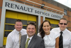 City Renault - from left assistant service manager David Edwards, service manager Nic Warwick, service adviser Michelle Good and service adviser Christian Maule