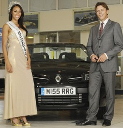 Miss England Rachel Christie collects Renault Megane Coupe Cabriolet from Ian Plummer, MD of Renault Retail