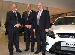 From left to right: Nigel Sharp, managing director, Graham Woods general manager of Polar Ford St Helens and Ford Retail chief executive Chris Hayden