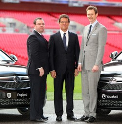 Pictured (left to right) Alex Horne (FA general secretary), Fabio Capello (England manager) and Duncan Aldred (managing director, Vauxhall)
