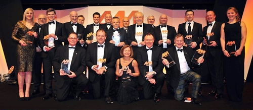 The winners of the AM Awards 2015 gather on stage at Birmingham's ICC