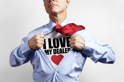 Man wearing 'I love my car dealer' T-shirt