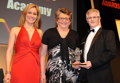Peter Vardy Academy director Elaine Ashworth (centre) with Sophie Raworth and Sewells' John Maslen
