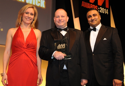 Rybrook Warwick aftersales manager Simon Birchall (centre) with Sophie Raworth and Enterprise's Naj Khan