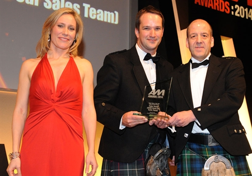 Peter Vardy Group property director Stuart Eynon, centre, with Sophie Raworth and Barclays Partner Finance's Alex Watt