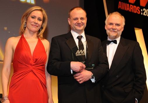 Audi UK regional network development manager Stuart Clarkson, centre, with Sophie Raworth and RAC's Rupert Keane