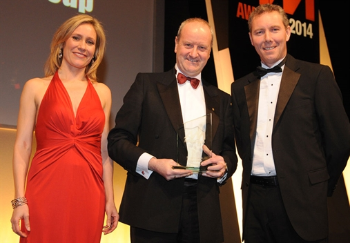Listers Group aftersales director Quentin Nicholls,  centre, with Sophie Raworth and  Continental's Dave Croston