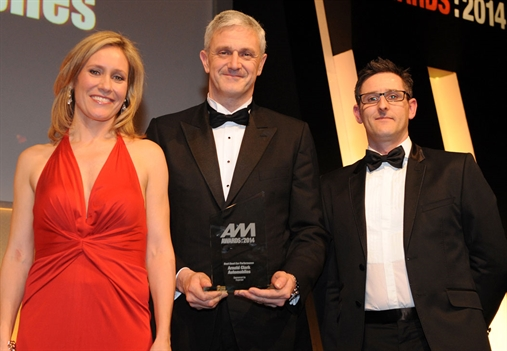 Arnold Clark MD Eddie Hawthorne, centre, with Sophie Raworth and Experian's Andrew Round