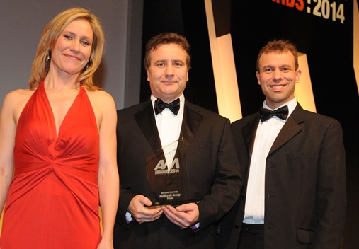 Holdcroft  group fleet sales director Malcolm Pearson, centre, with Sophie Raworth and  Fleet News editor Stephen Briers