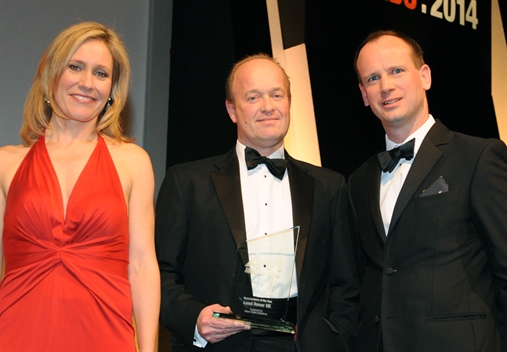 Jaguar Land Rover UK MD Jeremy Hicks, centre, with Sophie Raworth  and Allianz Global  Assistance's Lee Taylor