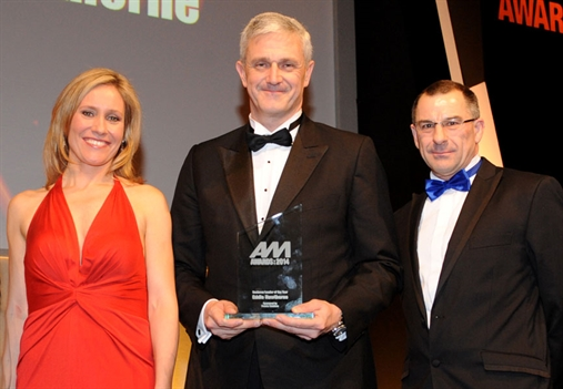 Eddie Hawthorne, centre, with Sophie Raworth and Premia Solutions' Conrad Gamble