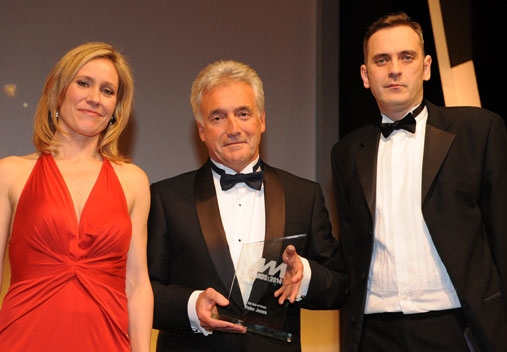 Peter Jones, centre, with Sophie Raworth and AM editor Jeremy Bennett