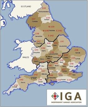 IGA labour rate map